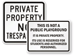 Not a Public Playground Signs