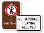No Ball Games Signs