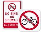 No Bikes Signs