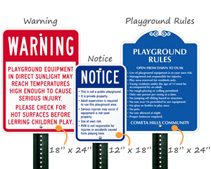 Custom Playground Signs Sizes