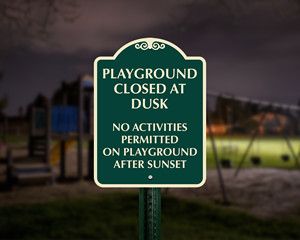 Playground Closed at Dusk Sign