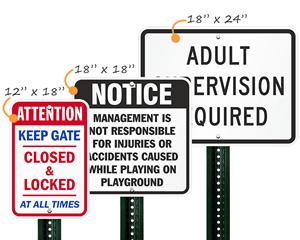 Playground Warning Sign
