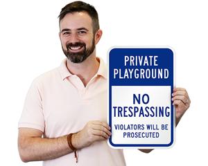 Private Playground No Trespassing Sign