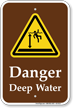 Danger Deep Water Sign With Graphic