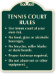 Tennis Court Rules No Food, Alcoholic Beverages Sign