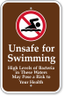 Bacteria In This Water Unsafe For Swimming Sign