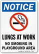 No Smoking In Playground Area Sign (with Graphic)
