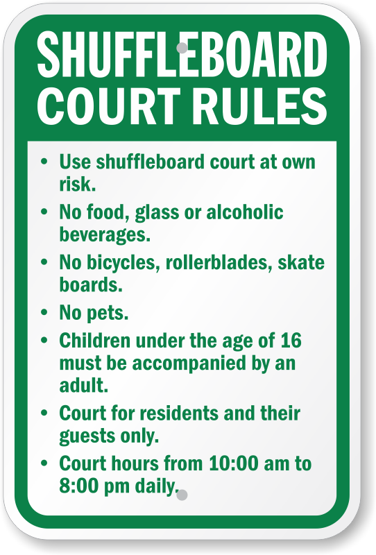 Shuffleboard Court Rules Sign   Timing Sign   Ships Free ...
