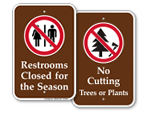 Campsite Prohibition Signs