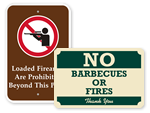 Fire and Weapon Prohibition Signs