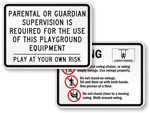 Playground Equipment Signs