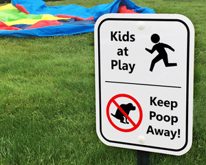 No dogs in playground signs