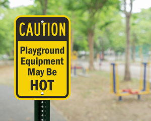 Playground Equipment May be Hot Sign
