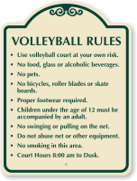 Volleyball Rules Use Court At Own Risk sign