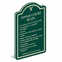 Add Custom Tennis Court Rules PermaCarve Sign