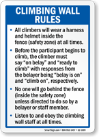 Climbing Wall Rules Wear Helmet Sign
