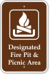 Designated Fire Pit & Picnic Area Campground Sign