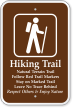 Hiking Trail, Follow Red Trail Markers Sign