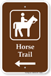 Horse Trail Left Arrow Sign