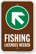 License Needed Up Arrow Pointing Left Sign