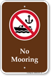 No Mooring Campground Sign with Symbol