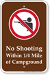 No Shooting Campground Sign