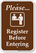 Please Register Before Entering Campground Rules Sign