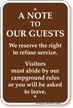 Right To Refuse Service Campground Rules Sign