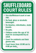 Shuffleboard Court Rules No Food, Beverages Sign
