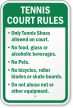 Tennis Court Rules No Food, Glass Sign