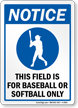 Baseball Notice Sign
