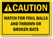 Caution Baseball Sign