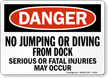 No Jumping Diving From Dock Danger Sign