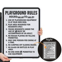 Playground Rules Play Area Reserved Sign