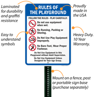 Playground Equipment Rules Sign