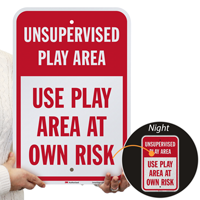 Unsupervised Play Area, Use Play Area Sign